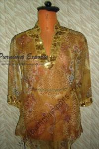 Printed Silk Georgette Blouse Tunic Top Manufacturer