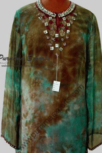 Tie dye embroidered blouses top