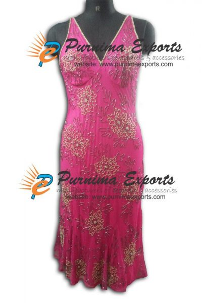 Fushia V Shape Evening Embellished Dress