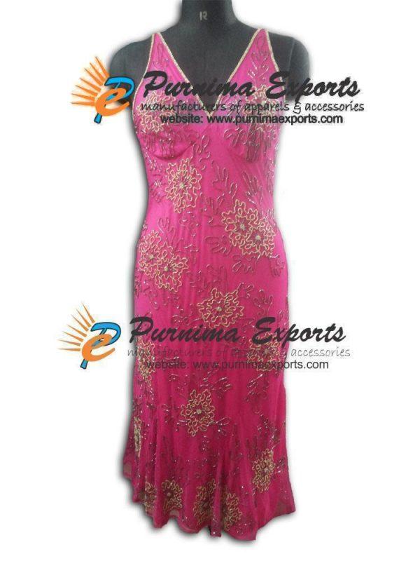 Fushia V Shape Evening Embellished Dress