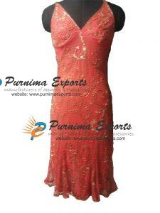 Silk Beaded Evening Dress