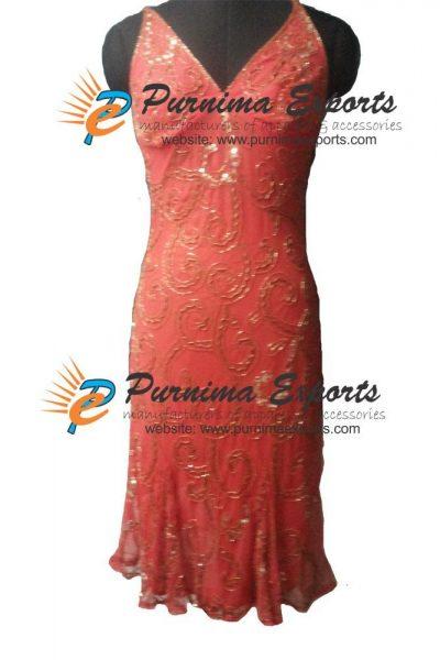 Silk Beaded Evening Dress