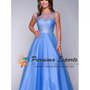 Long High Neck - Satin Net Prom Dress