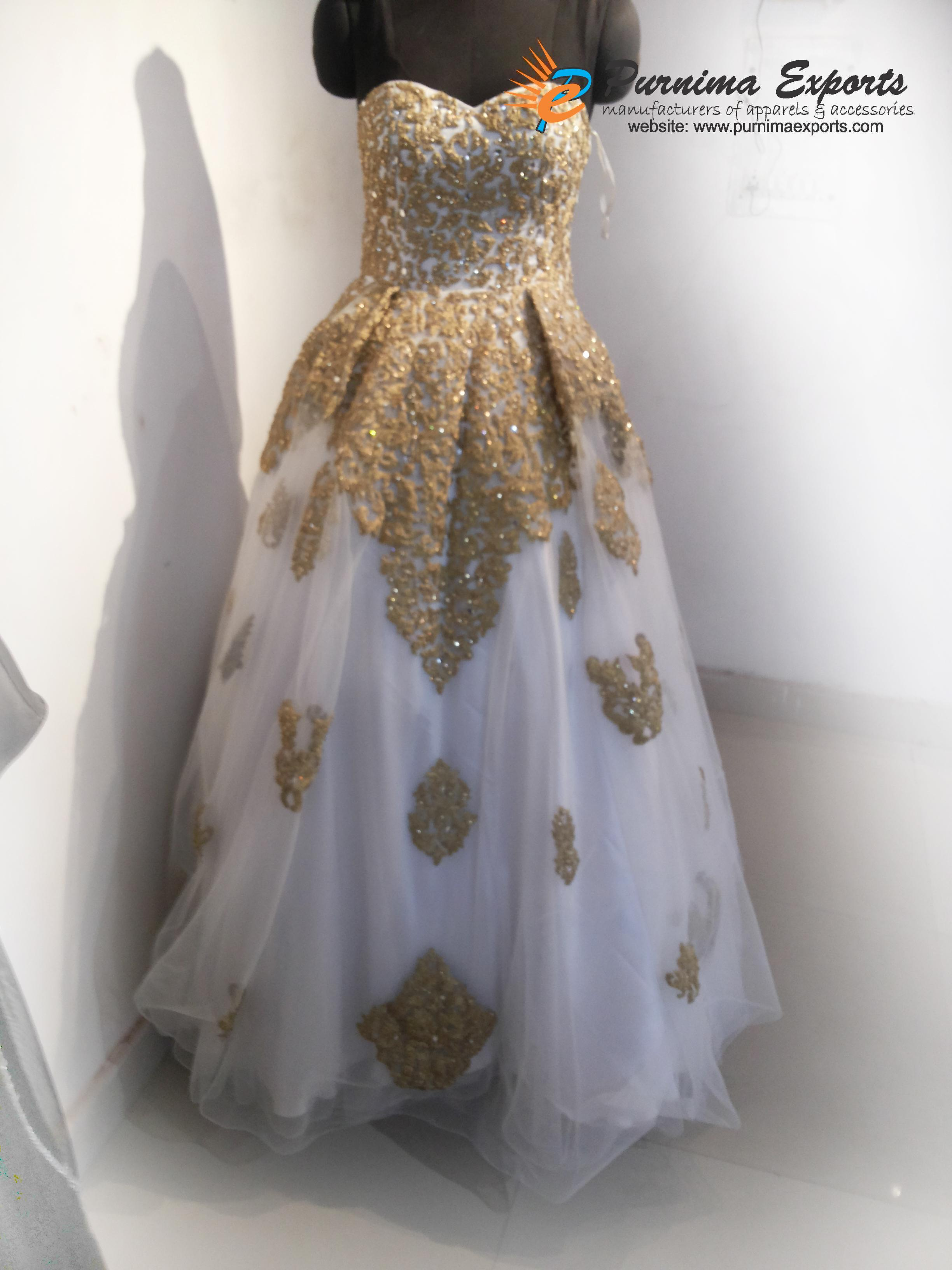 Gold Embroidered Wedding Bridal Gowns Manufacturer