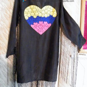 Silk Jacket With Heart Embroidery & Fringes