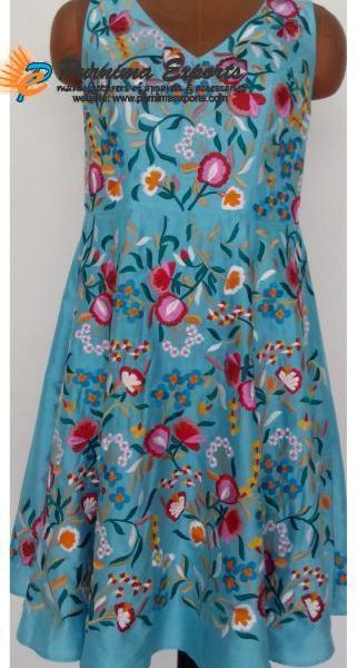 Silk dupioni Embroidered Flower Dress