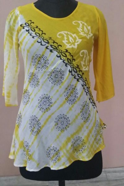 Printed Tie Dye with Block Print Rayon Blouse