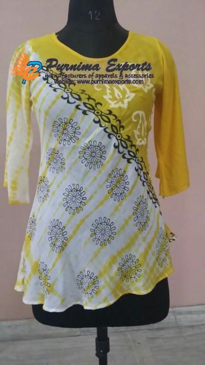 Printed Tie Dye with Block Print Rayon Blouse